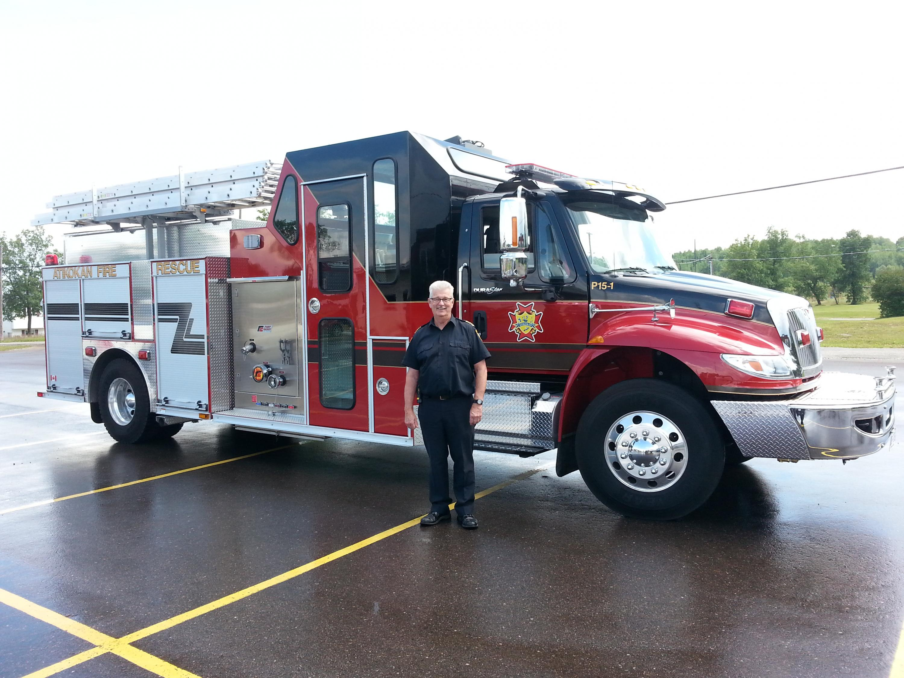 fire truck with man for size comparison